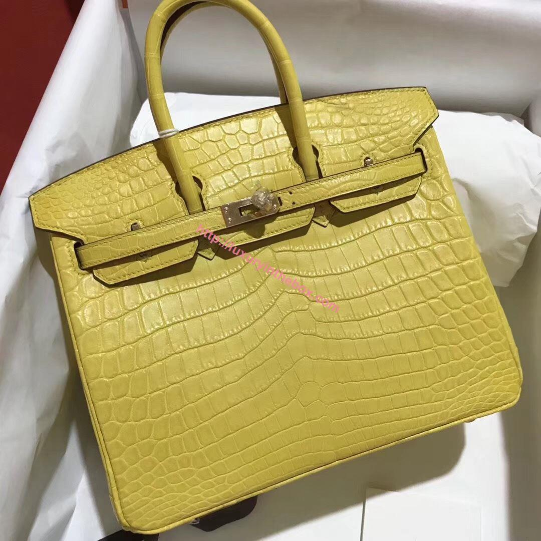 Picture of Hermes 25cm Matte Crocodile Leather Yellow with Gold