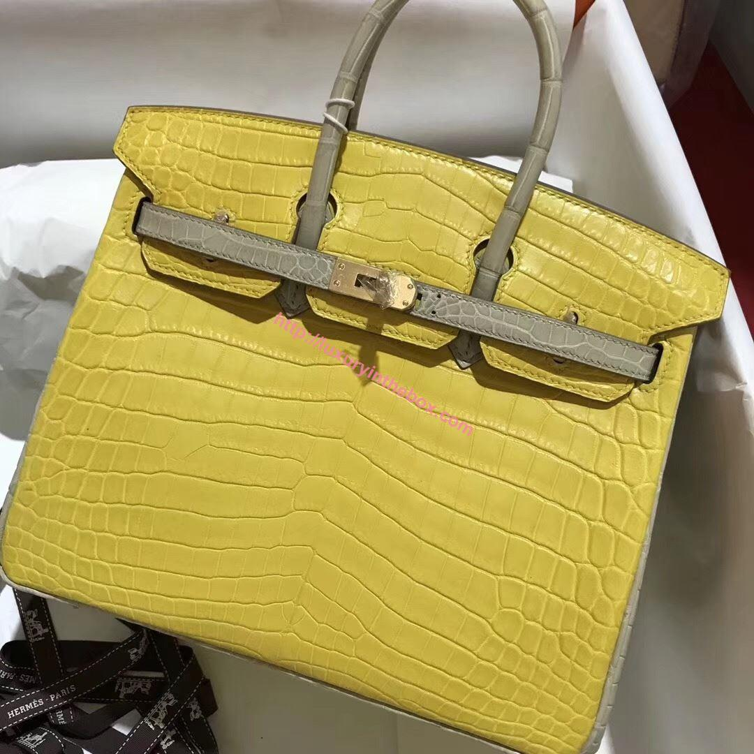 Picture of Hermes 25cm Matte Crocodile Leather Lemon Yellow with Gold