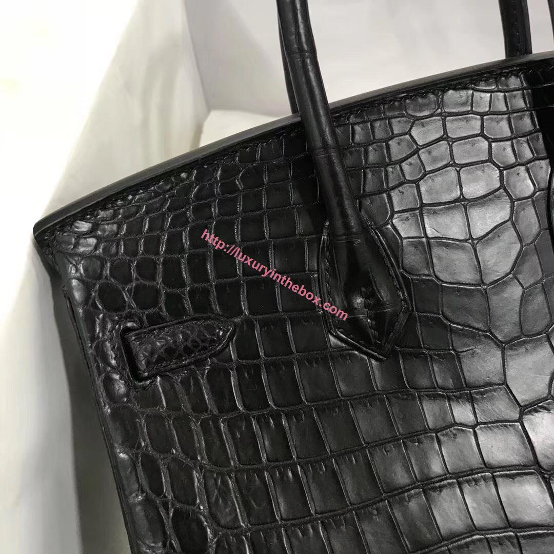 Picture of Hermes 25cm Matte Crocodile Leather Black with Silver