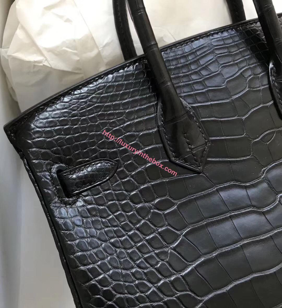Picture of Hermes 25cm Matte Crocodile Leather Black with Gold