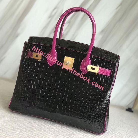 Picture of Hermes 30cm Crocodile  Leather Black&Violet with Gold
