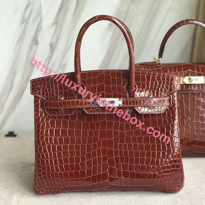 Picture of Hermes 30cm Crocodile Leather Red Brown with Silver (Gold)