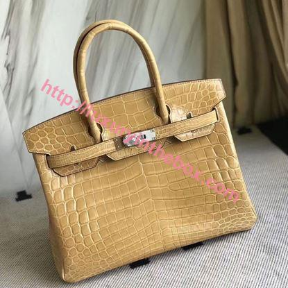 Picture of Hermes 30cm Crocodile Leather Daffodil Yellow with Silver