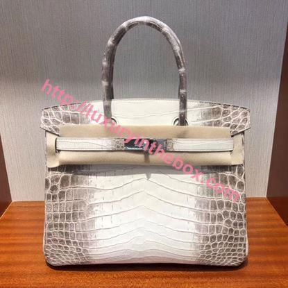 Picture of Hermes 30cm Crocodile Leather Grey*white with Silver