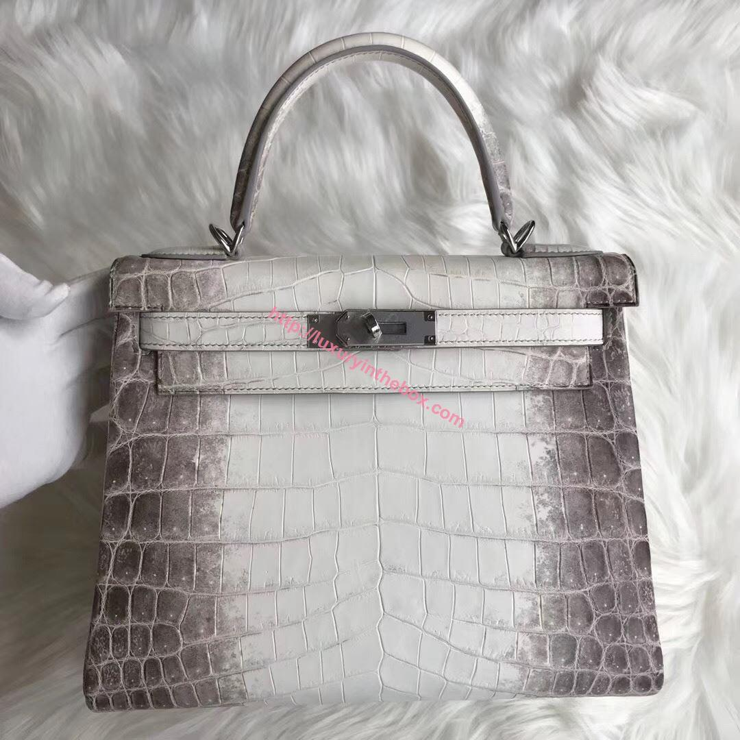 Picture of Hermes Kelly 28cm Crocodile leather Tote Bag White&Grey Silver