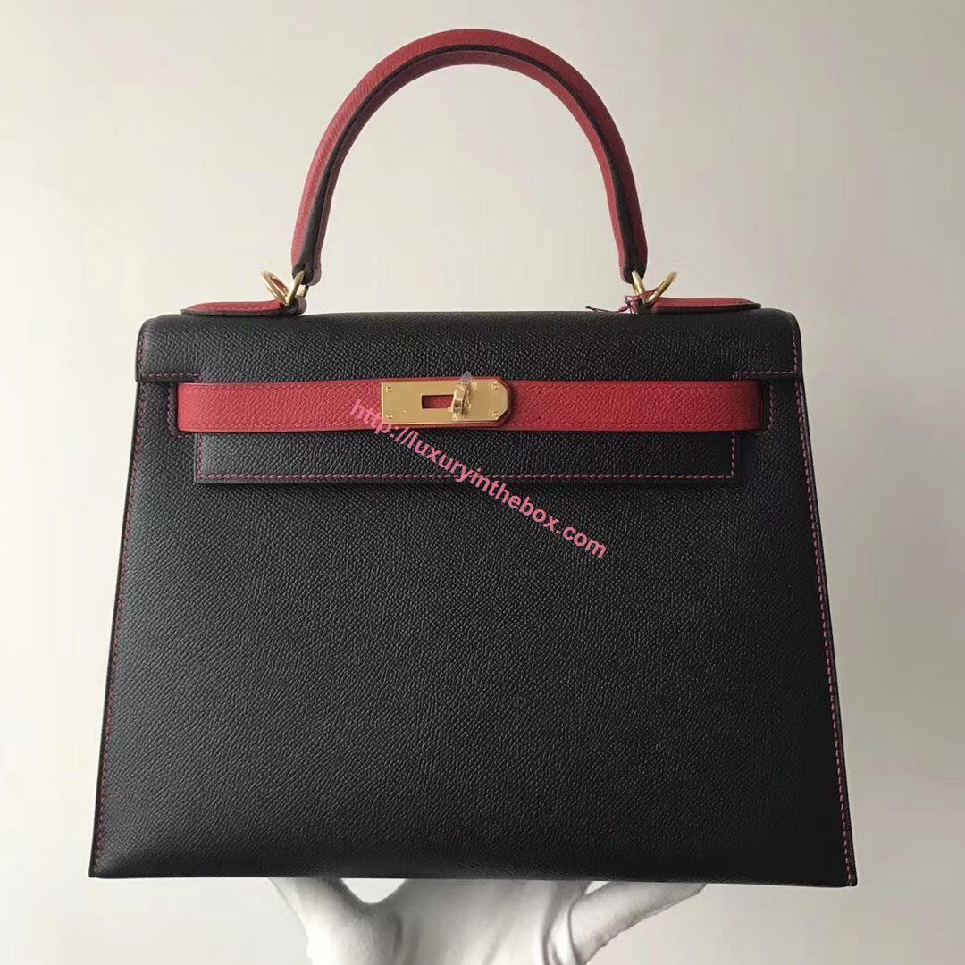 Picture of Hermes Kelly 28cm Epsom Leather Tote Bag Black with Red Handles Gold