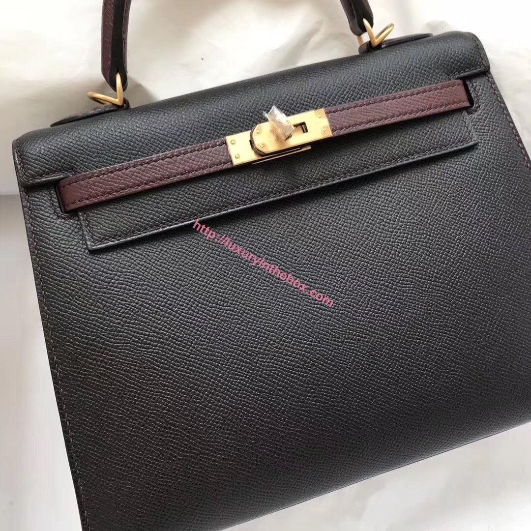 Picture of Hermes Kelly 25cm Epsom Leather Tote Bag Black with Red wine Handles Gold