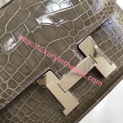 Picture of Hermes Constance 18cm Crocodile Leather Shoulder Bag Grey Gold