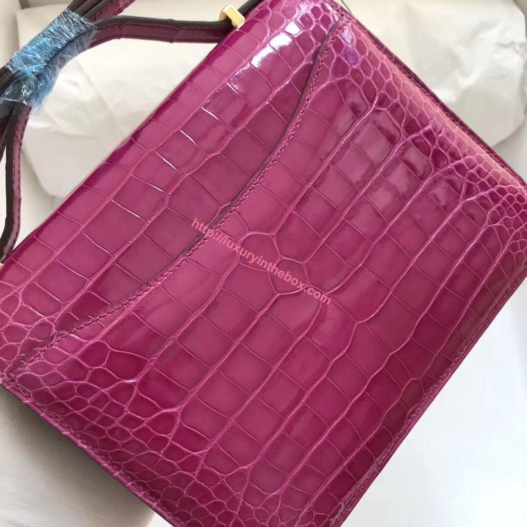 Picture of Hermes Constance 18cm Crocodile Leather Shoulder Bag Violet Gold