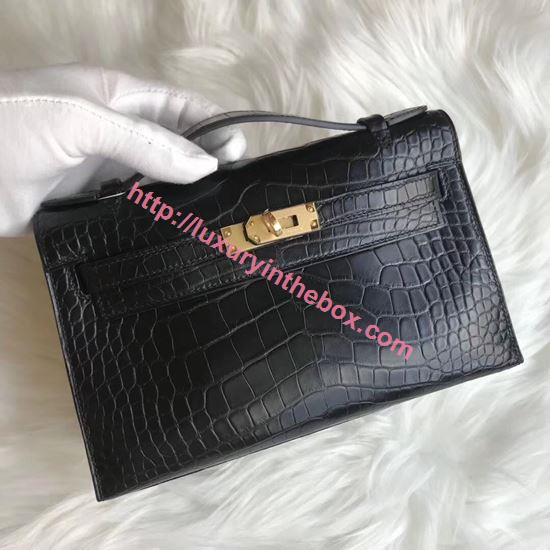 Picture of Hermes Mini Kelly Matte Crocodile leather Clutch Bag Black Gold
