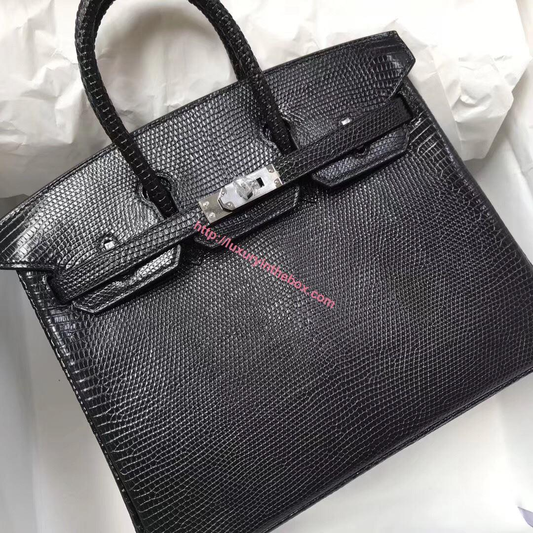 Picture of Hermes 25cm Lizard Leather Black Silver