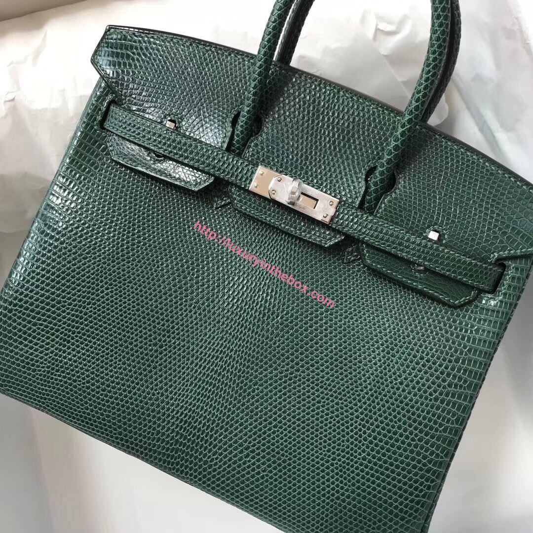 Picture of Hermes 25cm Lizard Leather Emerald Silver