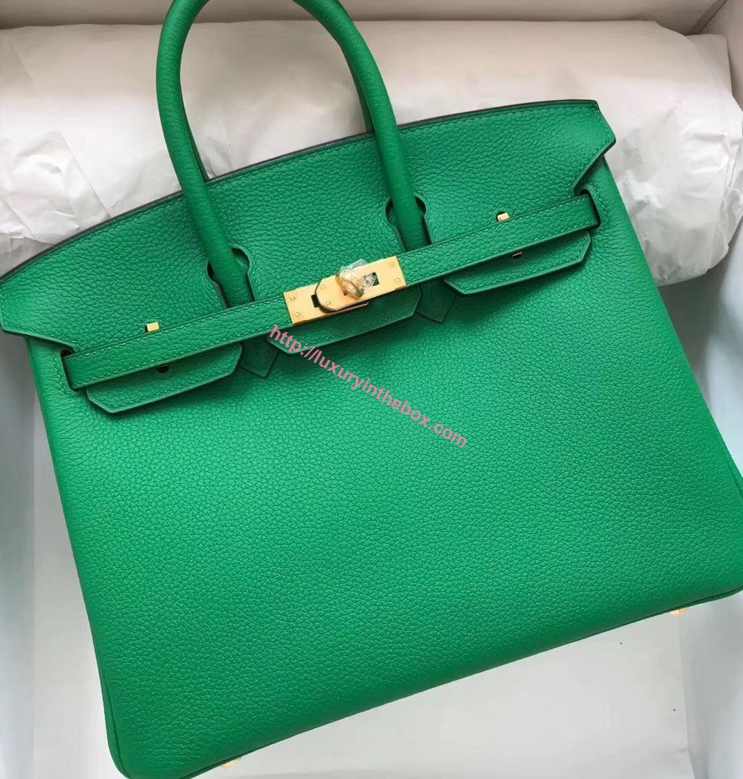 Picture of Hermes 25cm TOGO Leather Turquoise Green with Gold