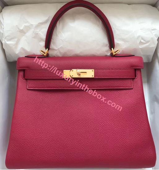 Picture of Hermes Kelly 28cm Epsom Leather Tote Bag Garnet Gold