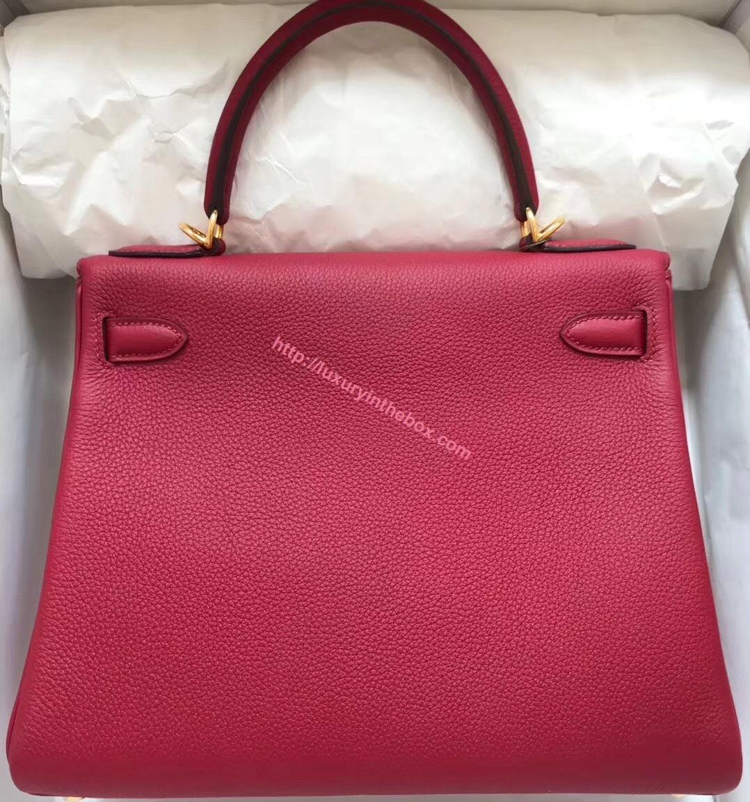 Picture of Hermes Kelly 28cm Epsom Leather Tote Bag Garnet Gold