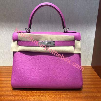Picture of Hermes Kelly 28cm Epsom Leather Tote Bag Pink Silver