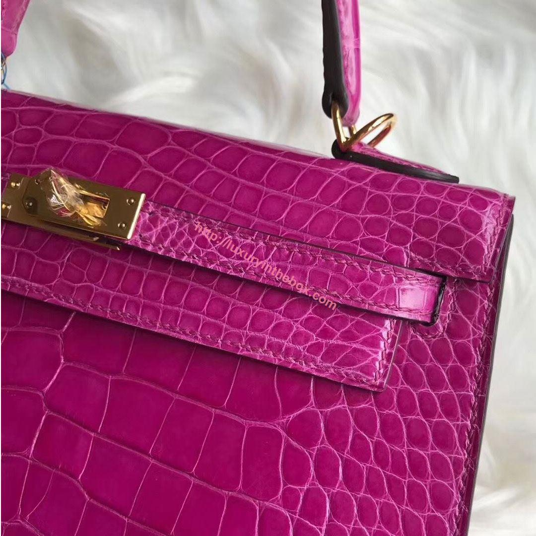 Picture of Hermes 28cm Crocodile leather Tote Bag Violet Gold