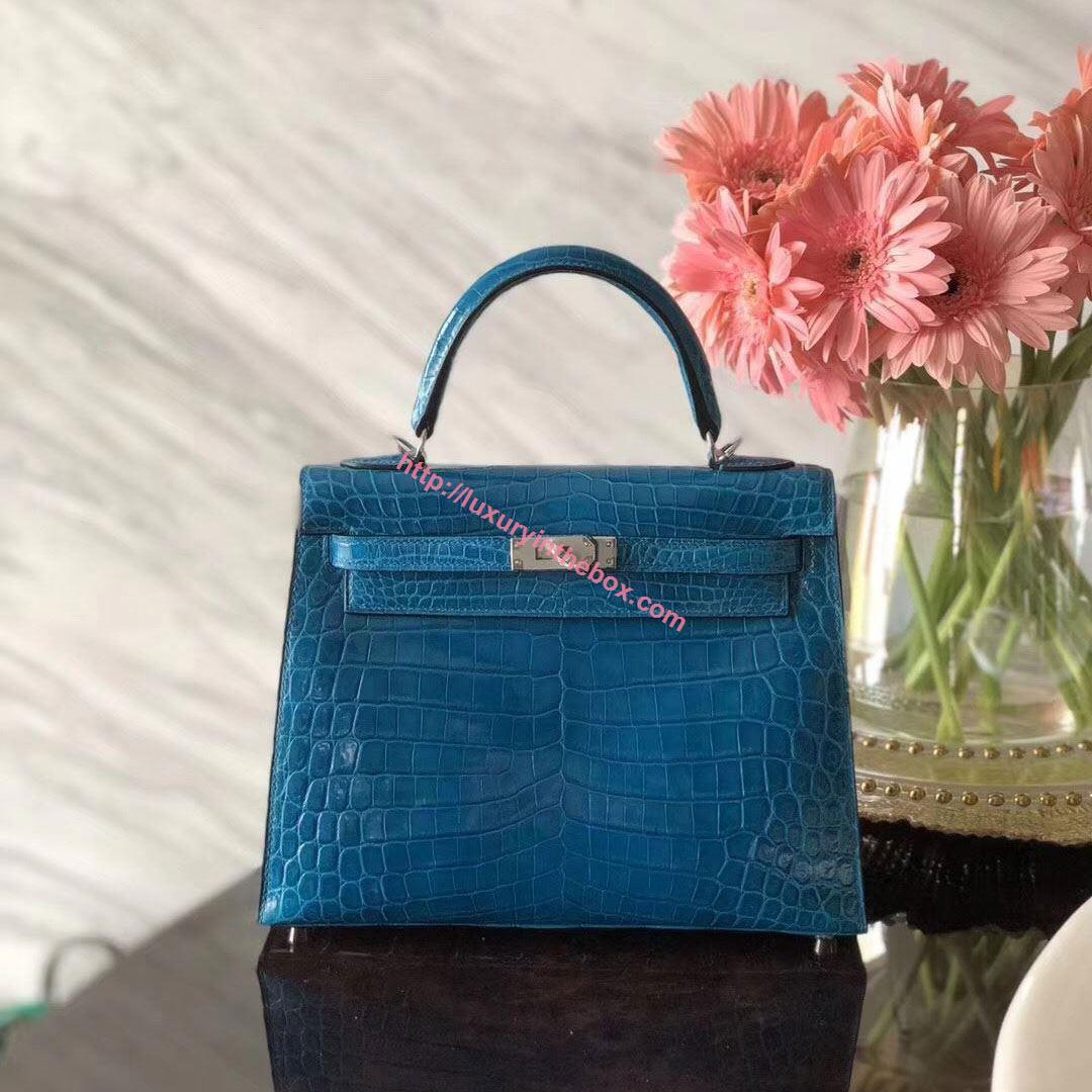 Picture of Hermes 28cm Crocodile leather Tote Bag Mint Blue Gold