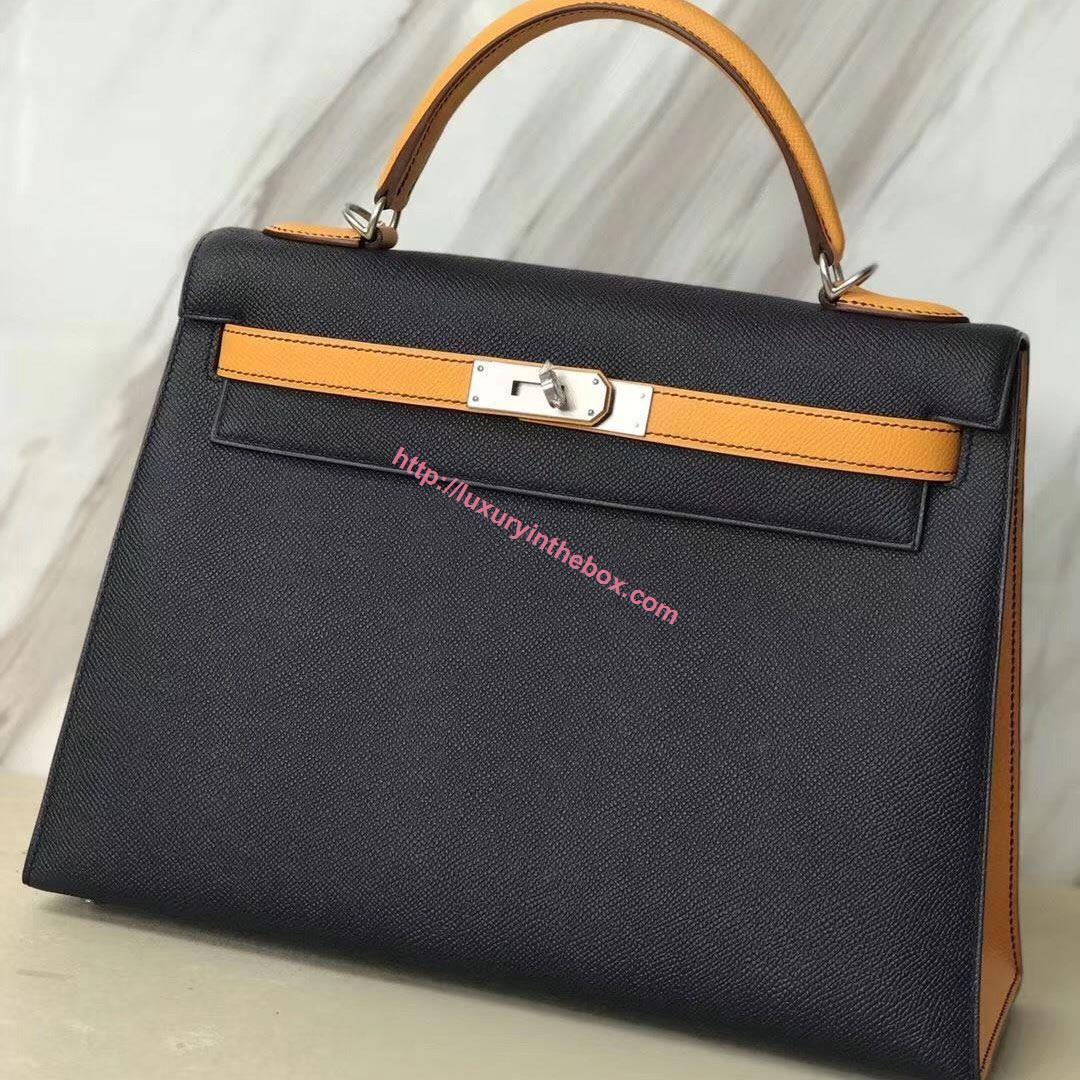 Picture of Hermes Kelly 32cm Epsom Leather Tote Bag Black with Yellow Handles Gold