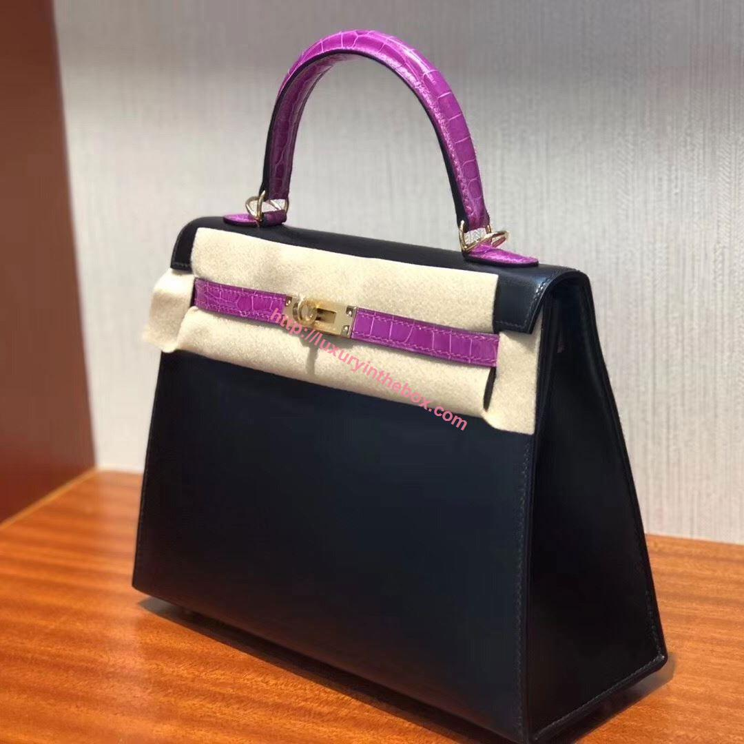 Picture of Hermes Kelly 25cm Togo Leather Tote Bag Black with Violet Handles Gold