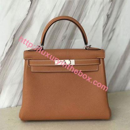 Picture of Hermes Kelly 28cm Togo Leather Tote Bag Toffee Gold
