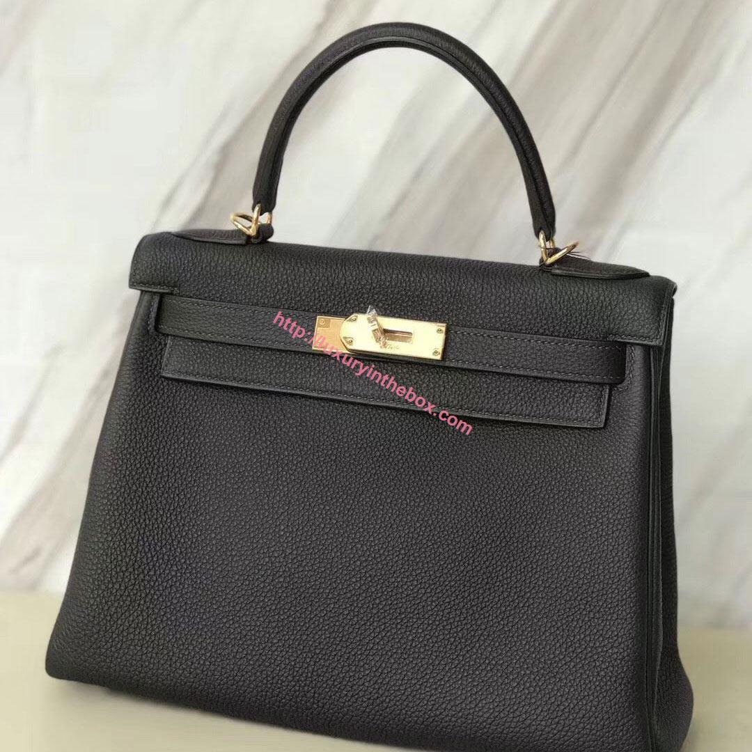 Picture of Hermes Kelly 28cm Epsom Leather Tote Bag Black Gold