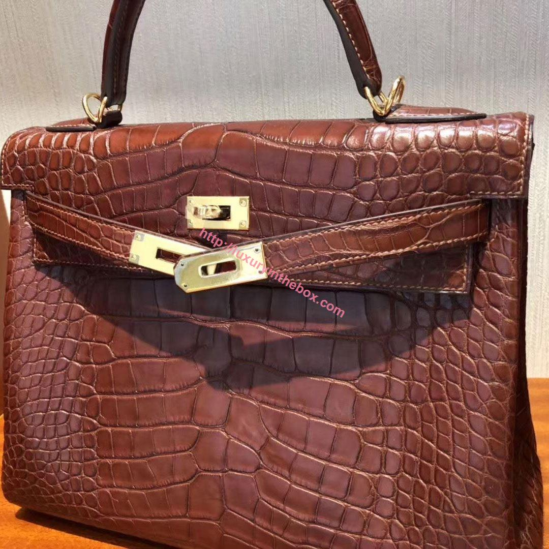 Picture of Hermes Kelly 32cm Crocodile Leather Tote Bag Earth Brown Gold