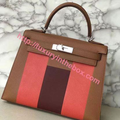 Picture of Hermes Kelly 28cm Epsom Leather Tote Bag H Brown Silver
