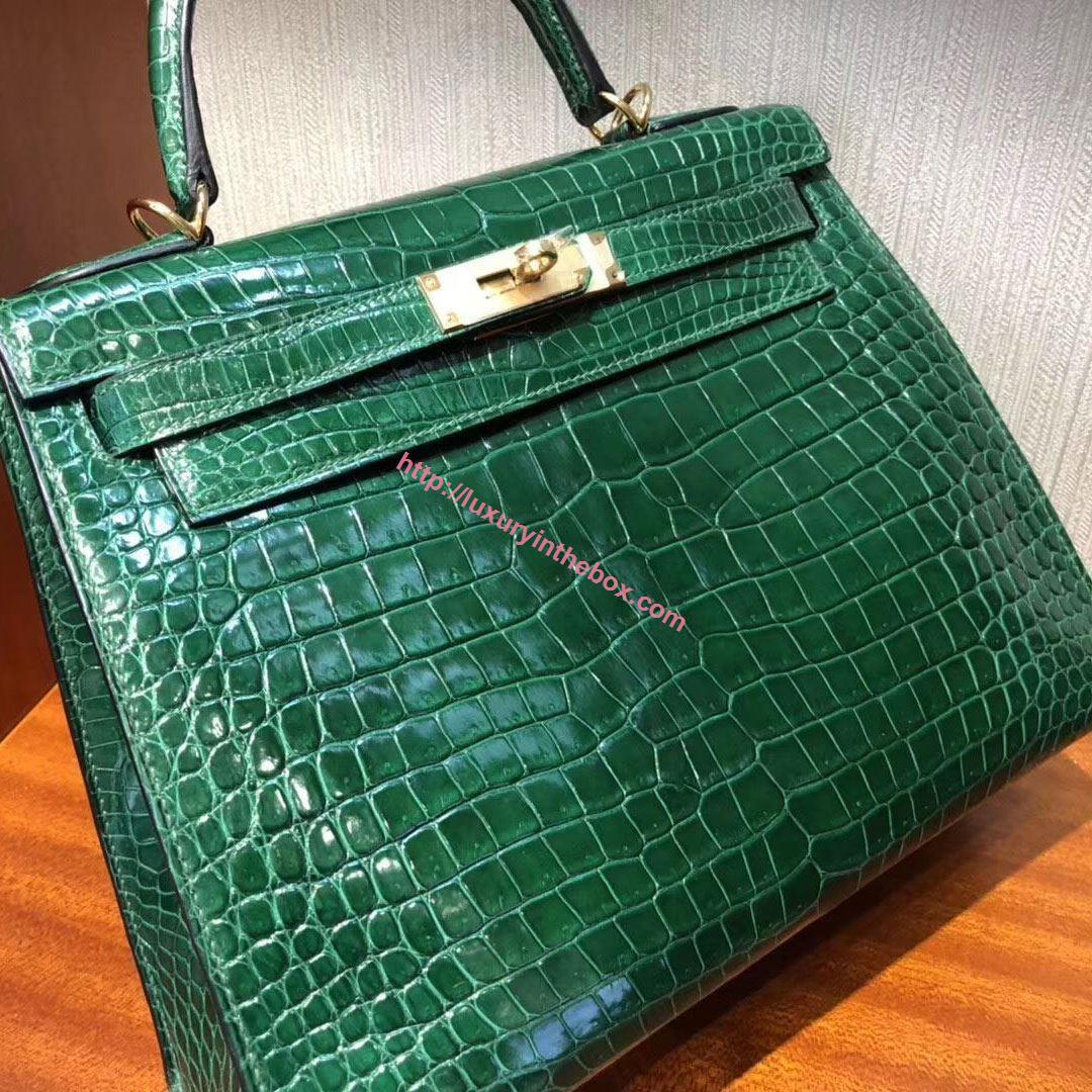 Picture of Hermes Kelly 28cm Crocodile Leather Tote Bag Emerald Green Gold