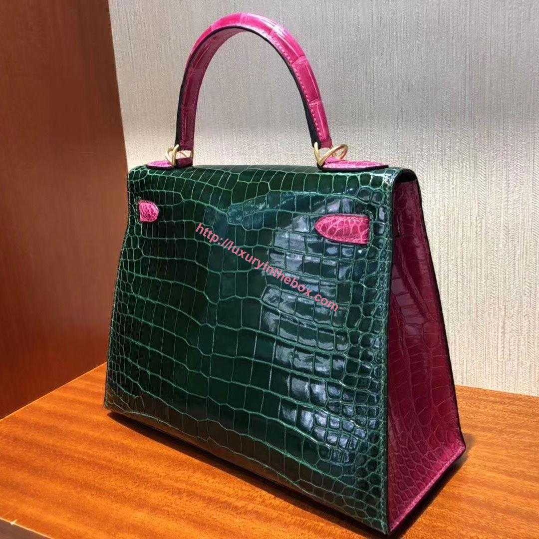 Picture of Hermes Kelly 28cm Crocodile Leather Tote Bag Emerald Green & Pink  Gold