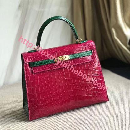Picture of Hermes Kelly 25cm Crocodile Leather Tote Bag Pink Gold