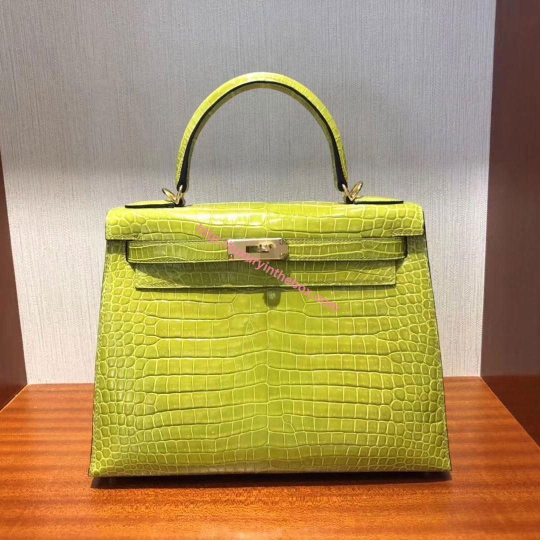 Picture of Hermes Kelly 28cm Crocodile Leather Tote Bag Shinny Yellow Gold