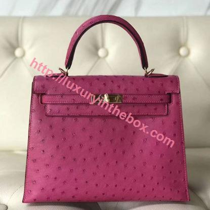 Picture of Hermes 25cm Ostrich Leather Pink with Gold