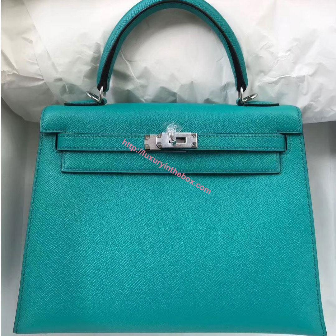 Picture of Hermes Kelly 25cm Epsom Leather Tote Bag Peacock blue Silver