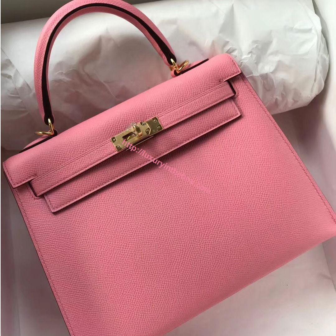 Picture of Hermes Kelly 25cm Epsom Leather Tote Bag Pink Gold