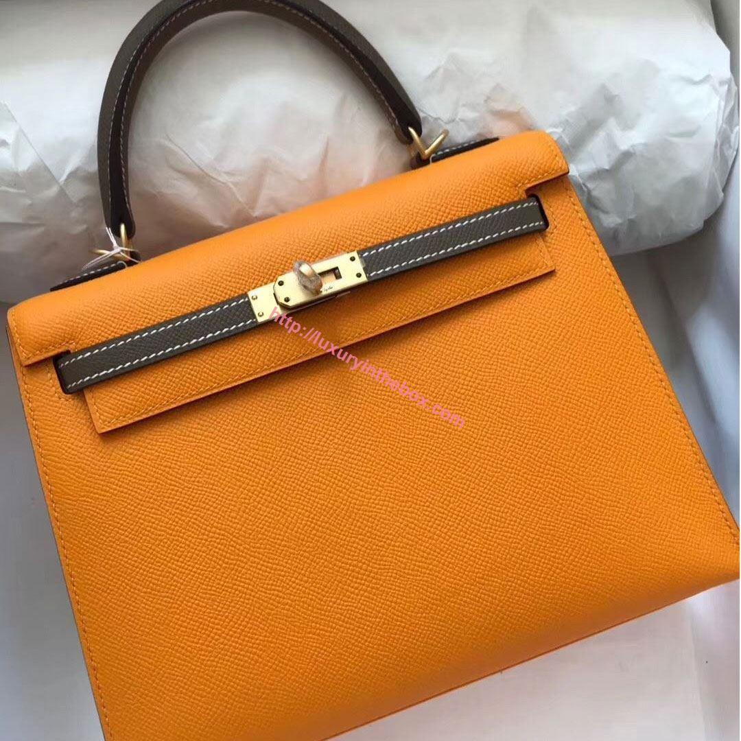 Picture of Hermes Kelly 25cm Epsom Leather Tote Bag Sunny Yellow with Grey Handles Gold