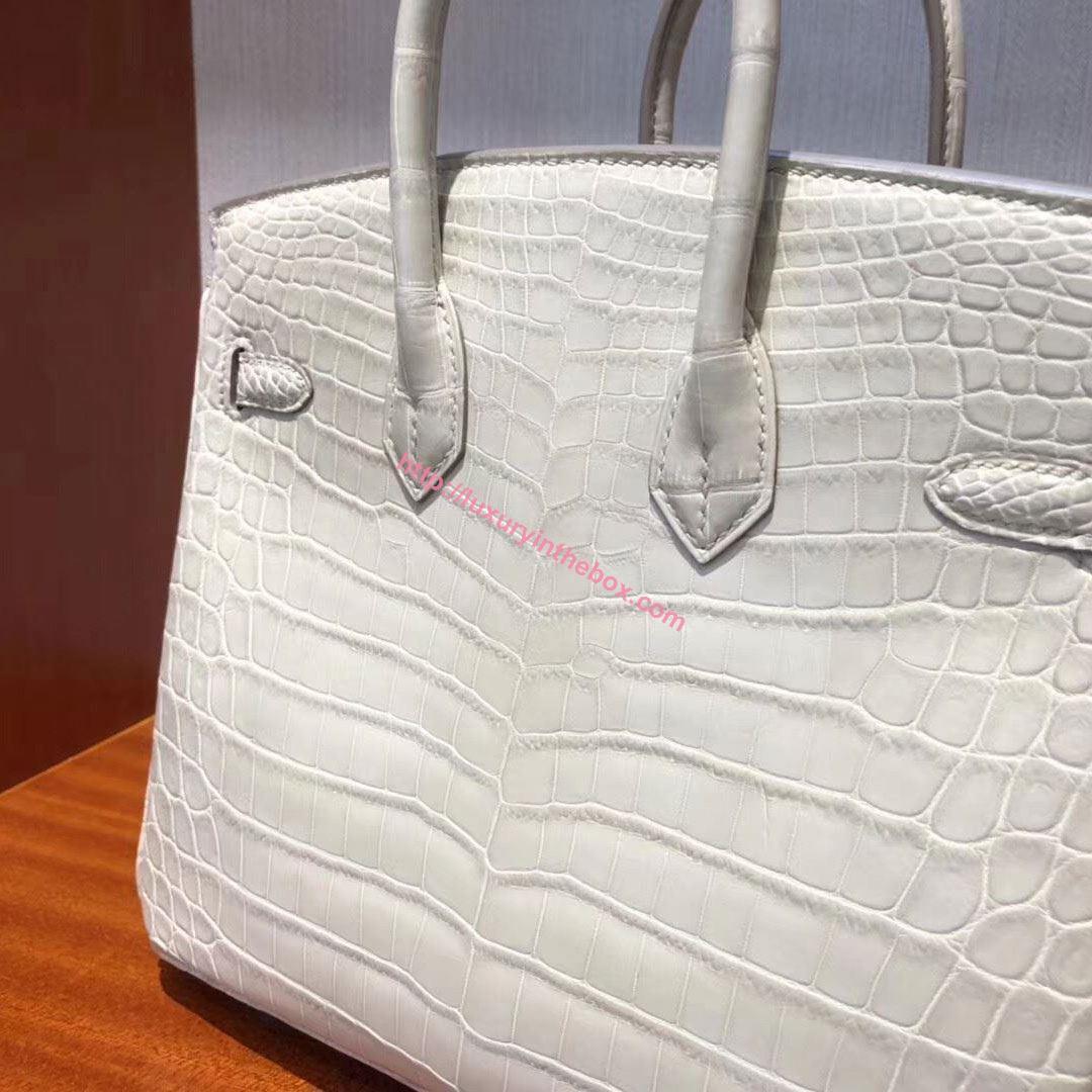 Picture of Hermes 25cm Matte Crocodile Leather Milk White Silver
