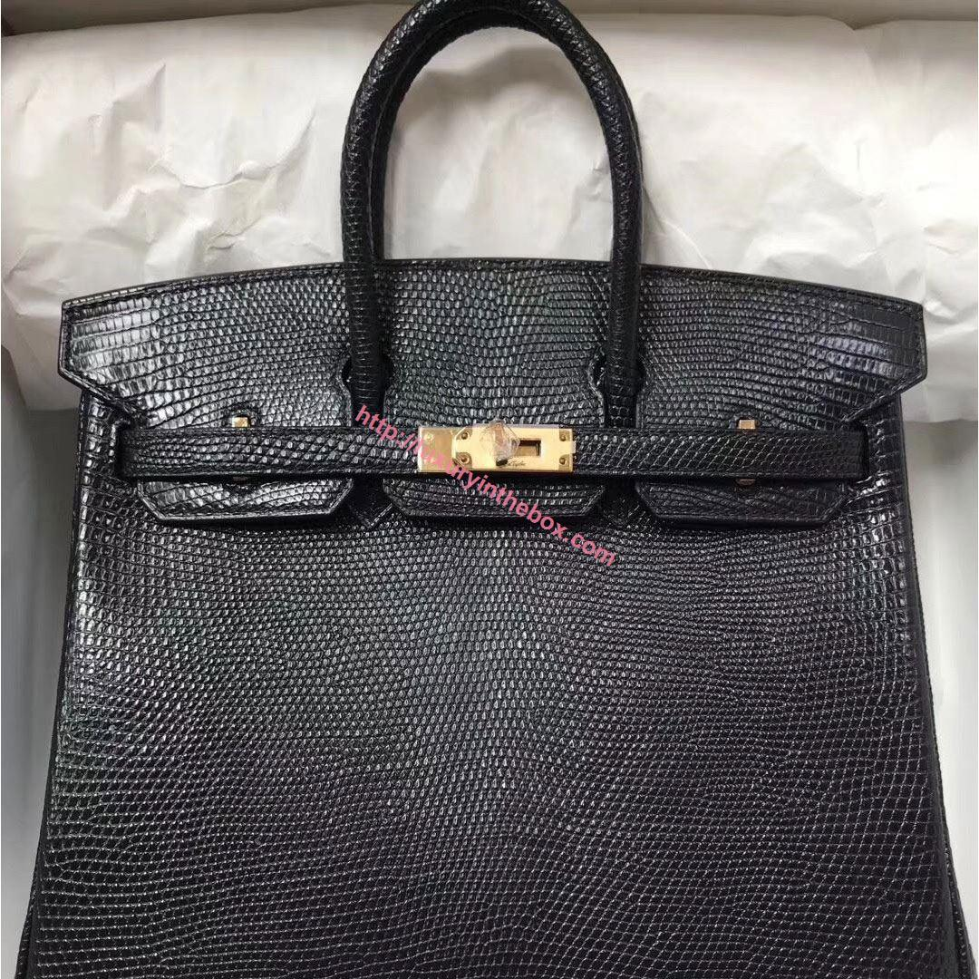 Picture of Hermes 25cm Lizard Leather Black Gold