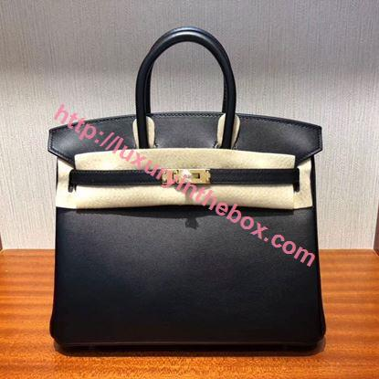 Picture of Hermes 25cm SWIFT Leather Black with Gold