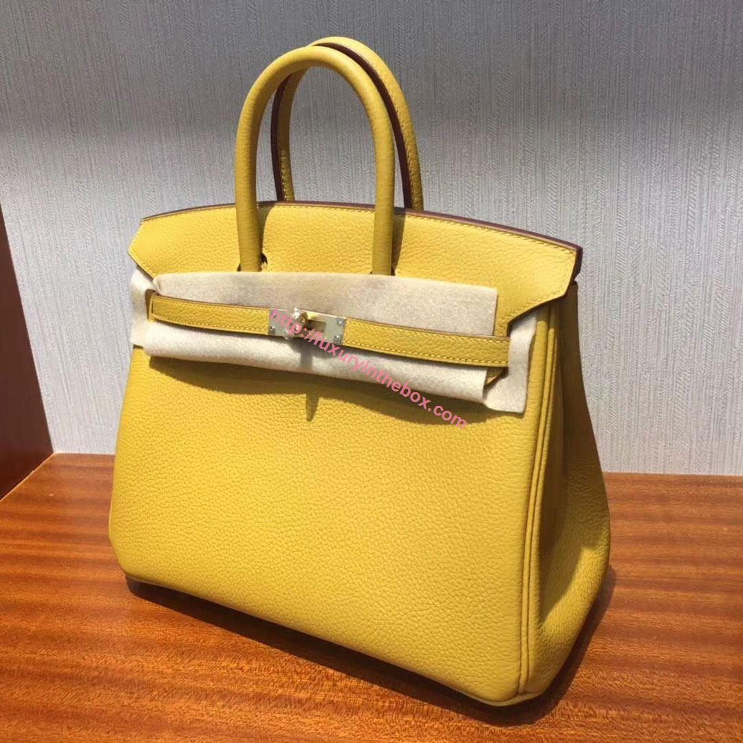 Picture of Hermes 25cm TOGO Leather Ambel Yellow with Gold