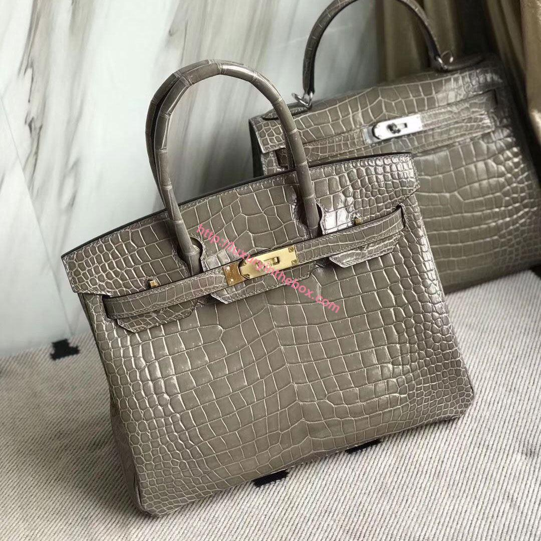 Picture of Hermes 30cm Crocodile Leather Grey with Silver (Gold)