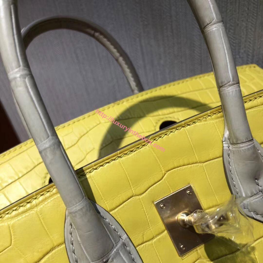 Picture of Hermes 25cm Crocodile Leather Lemon Yellow with Gold