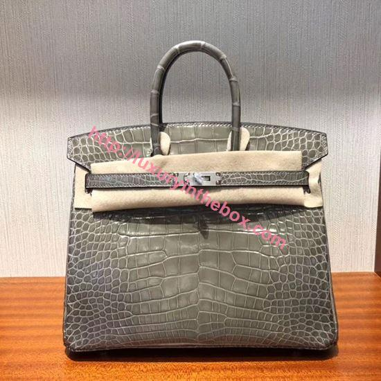 Picture of Hermes 25cm Crocodile Leather Grey with silver