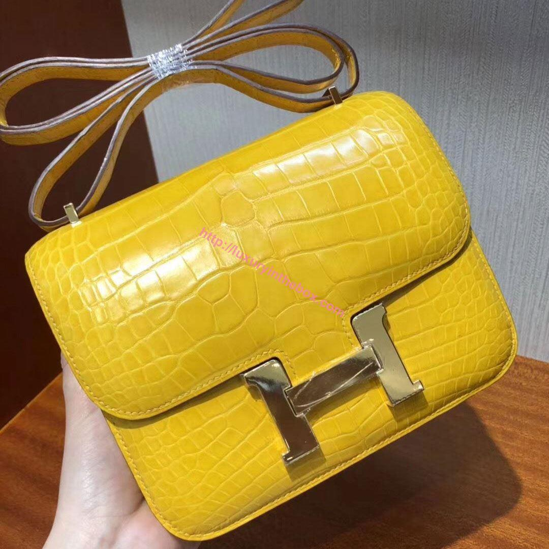 Picture of Hermes Constance 18cm Shoulder Bag Brillant Amber Yellow Gold