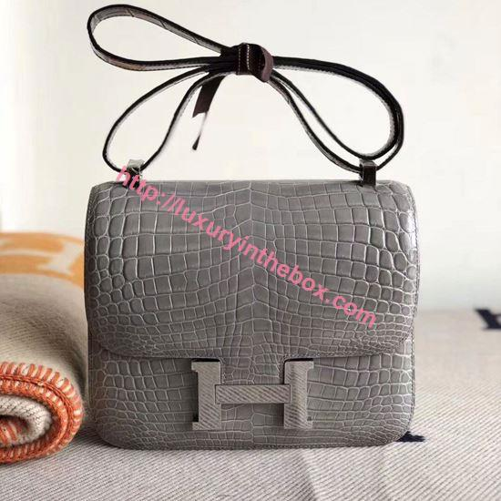Picture of Hermes Constance 18cm Shoulder Bag Grey Silver