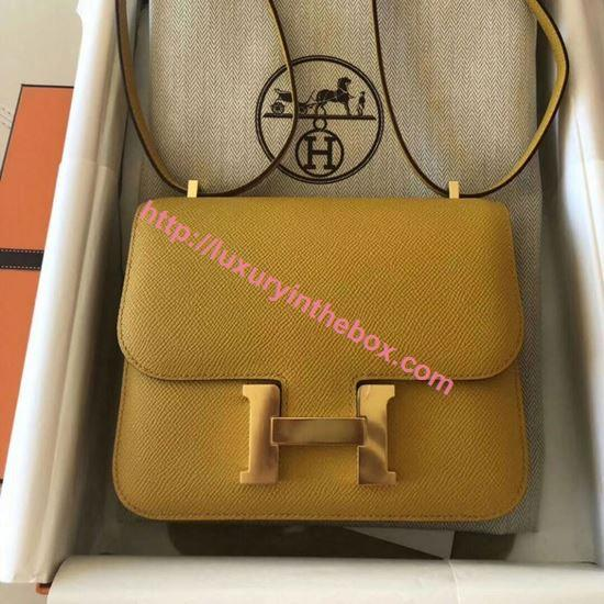 Picture of Hermes Constance 23cm Shoulder Bag Honey Yellow