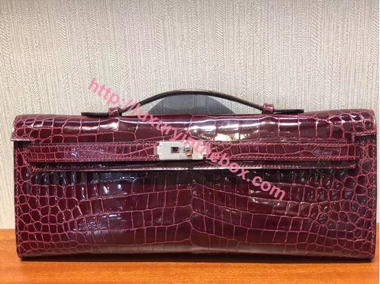 Picture of Hermes Mini Kelly Crocodile leather Clutch Bag Red Wine Silver