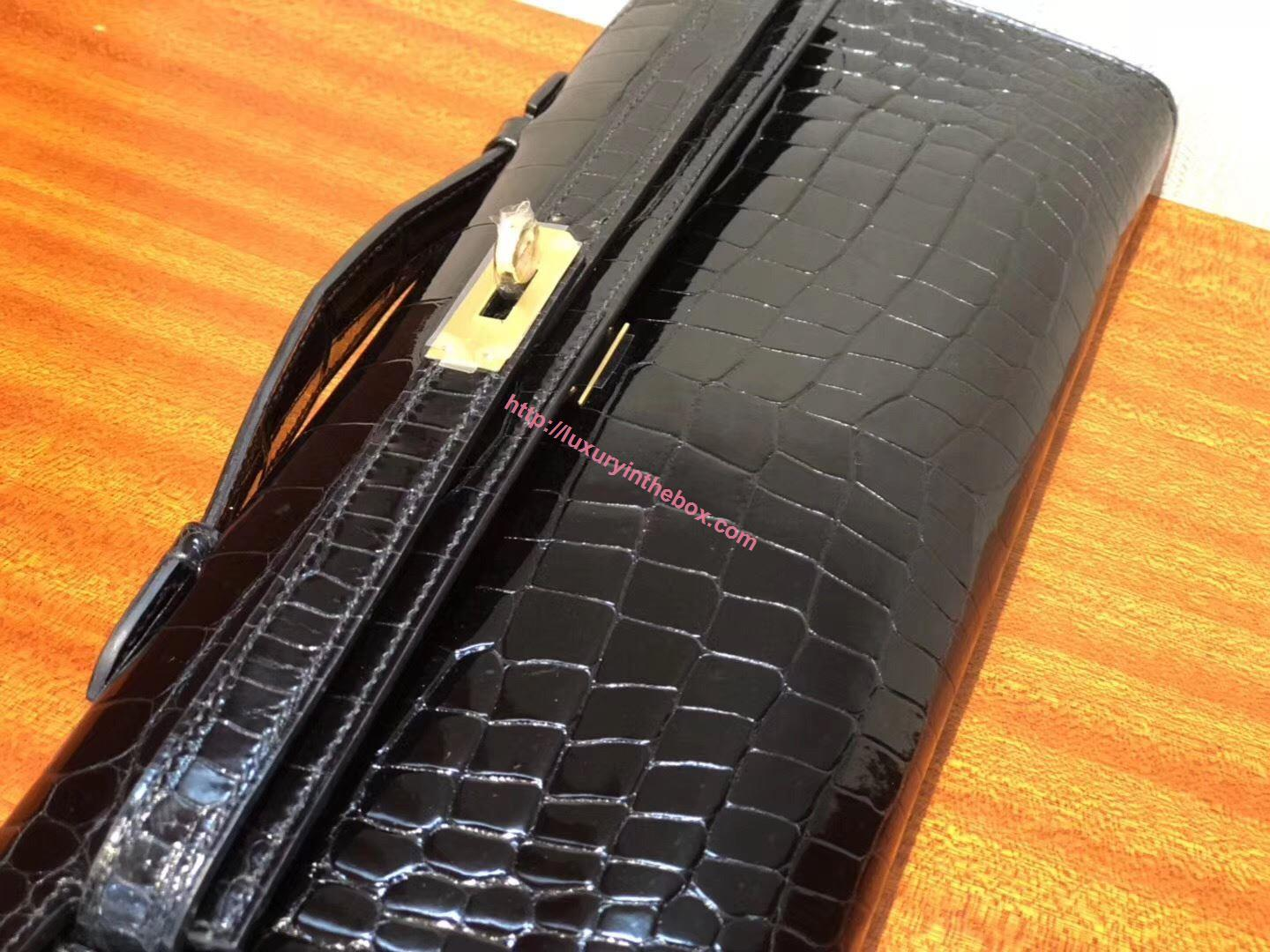 Picture of Hermes Mini Kelly Crocodile leather Clutch Bag Black Gold
