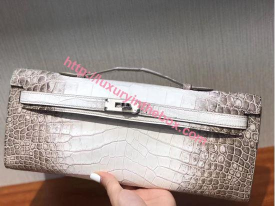 Picture of Hermes Mini Kelly Crocodile leather Clutch Bag White&Grey Silver