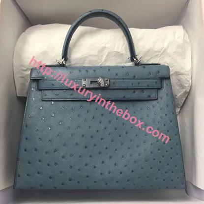 Picture of Hermes Kelly 28cm Ostrich Leather Tote Bag Cow Blue Silver